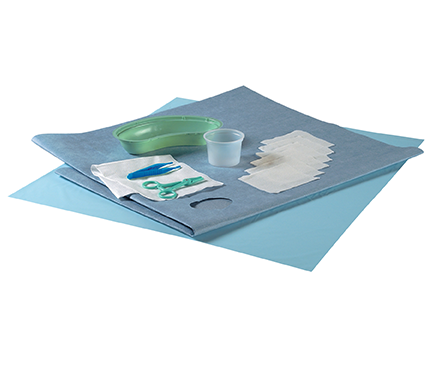 Catheter Procedure Pack with Clamp Forceps and Protex Drape