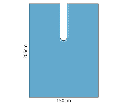 Impervious Drape 150cm x 205cm with Adhesive U-Split - Blue